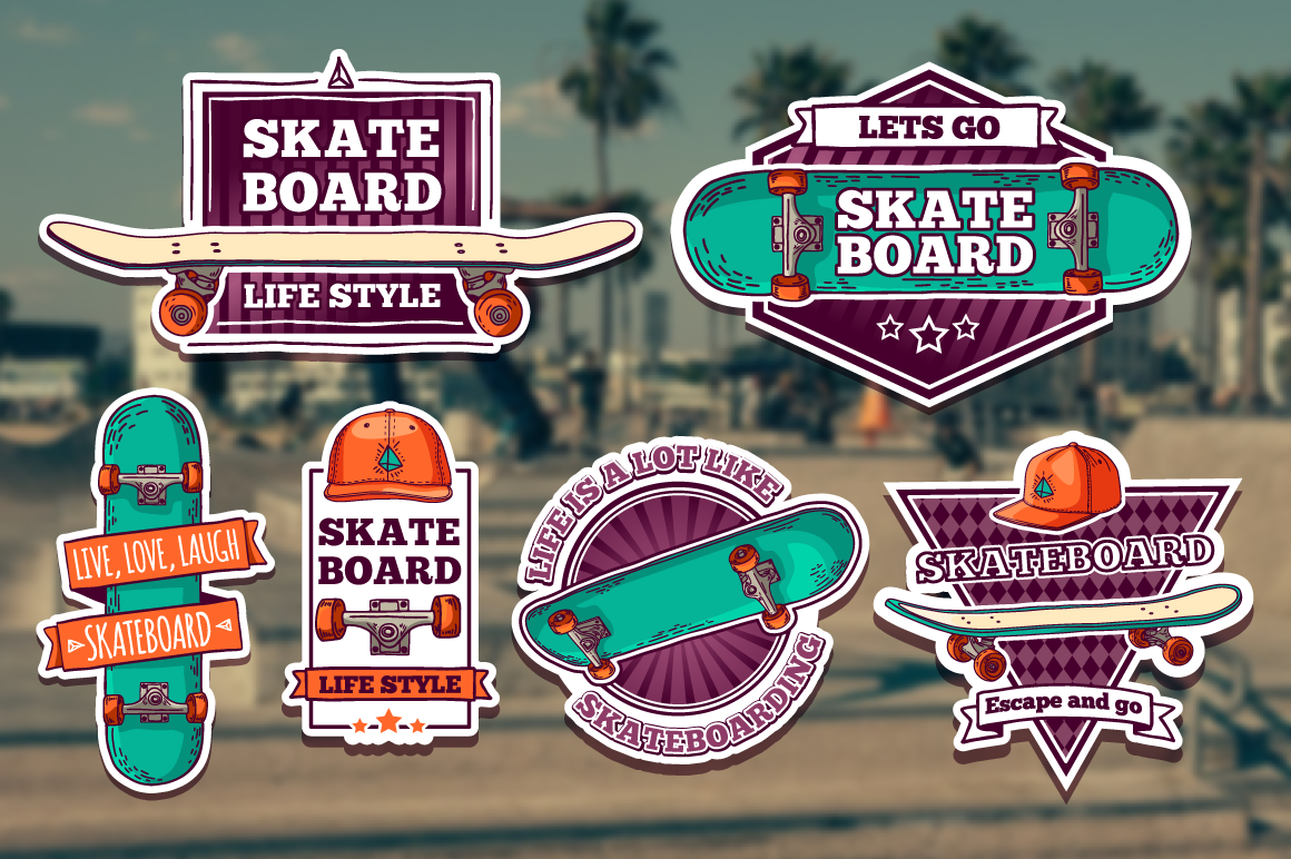 Set of colored skateboard badges example image 3