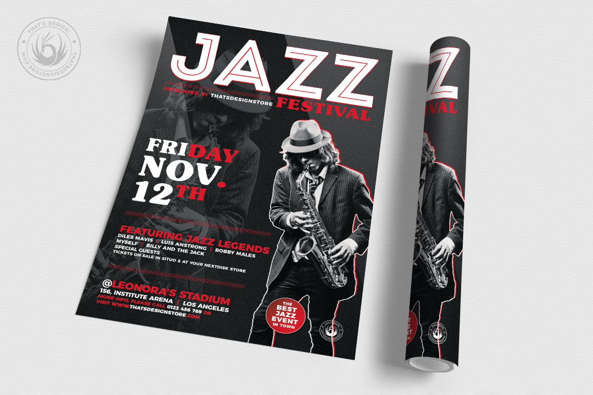 Jazz Festival Flyer Template V3 example image 3
