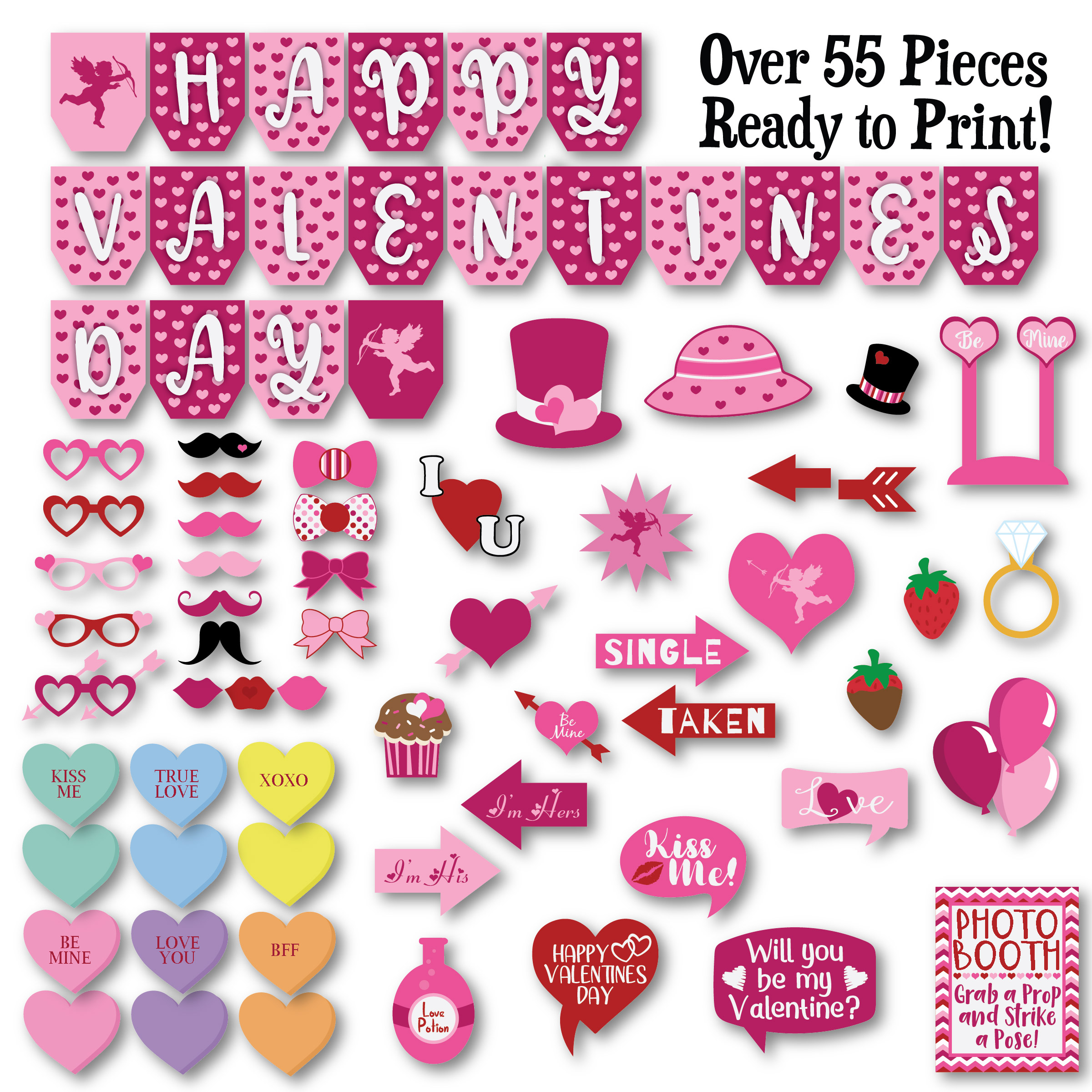 Valentines Day Photo Booth Props - SVG Cut File - DXF - EPS example image 2