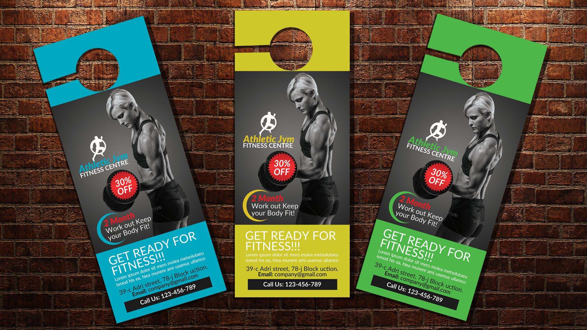 Body Fitness Club Door Hangers example image 3