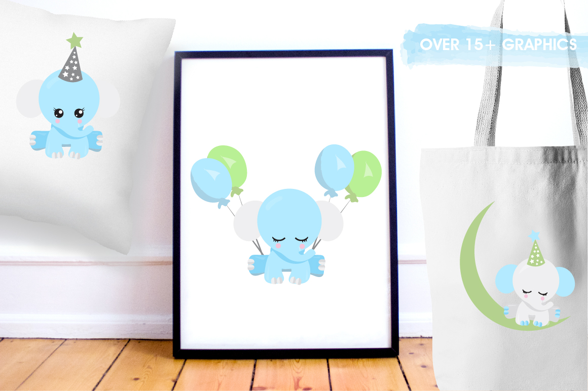 Baby Boy Elephants graphics and illustrations example image 5