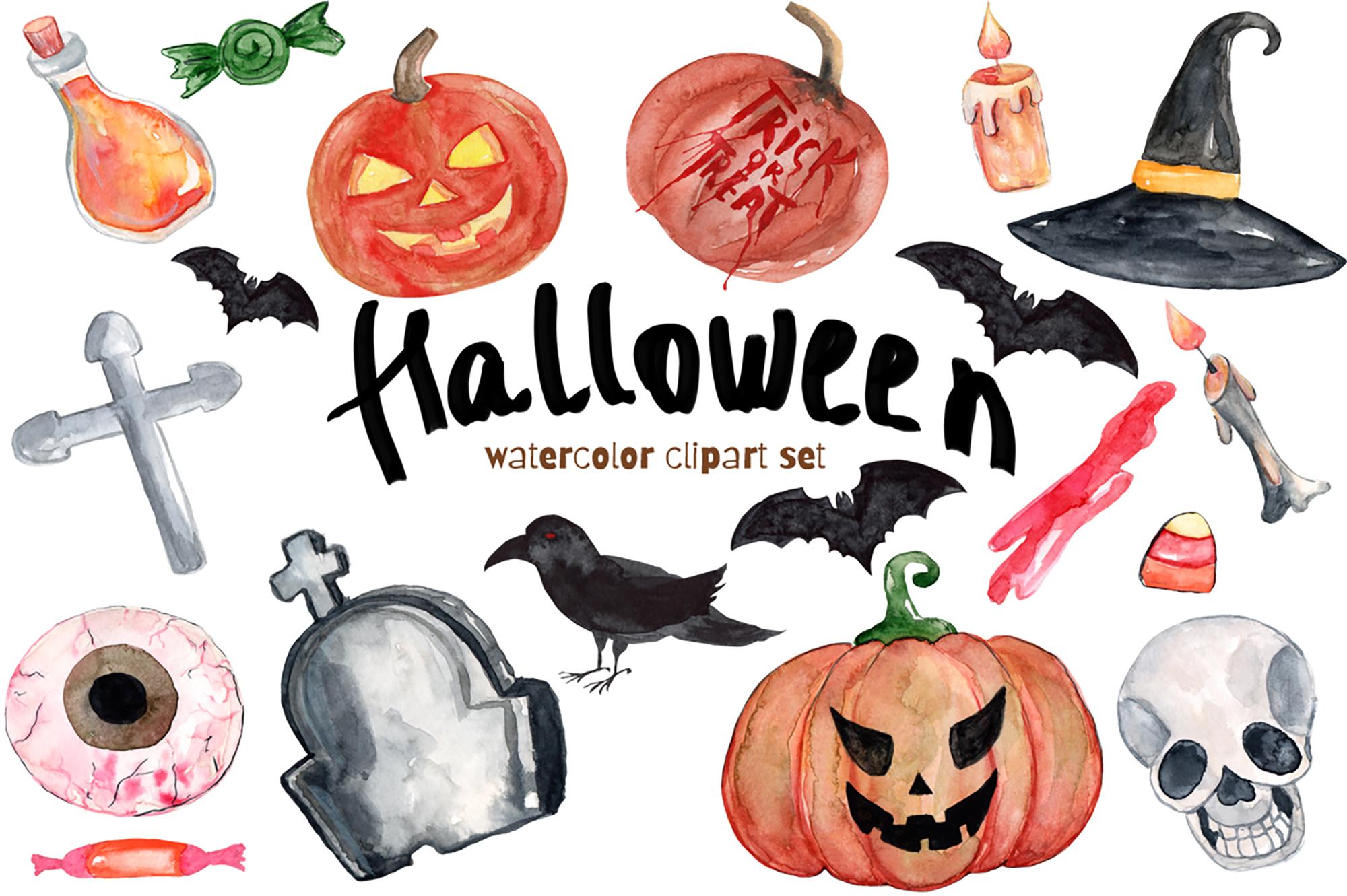 Watercolor Clipart Halloween Bundles with Bats Pumpkins example image 1