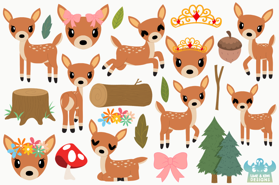 Does Deer Clipart, Instant Download Vector Art example image 2