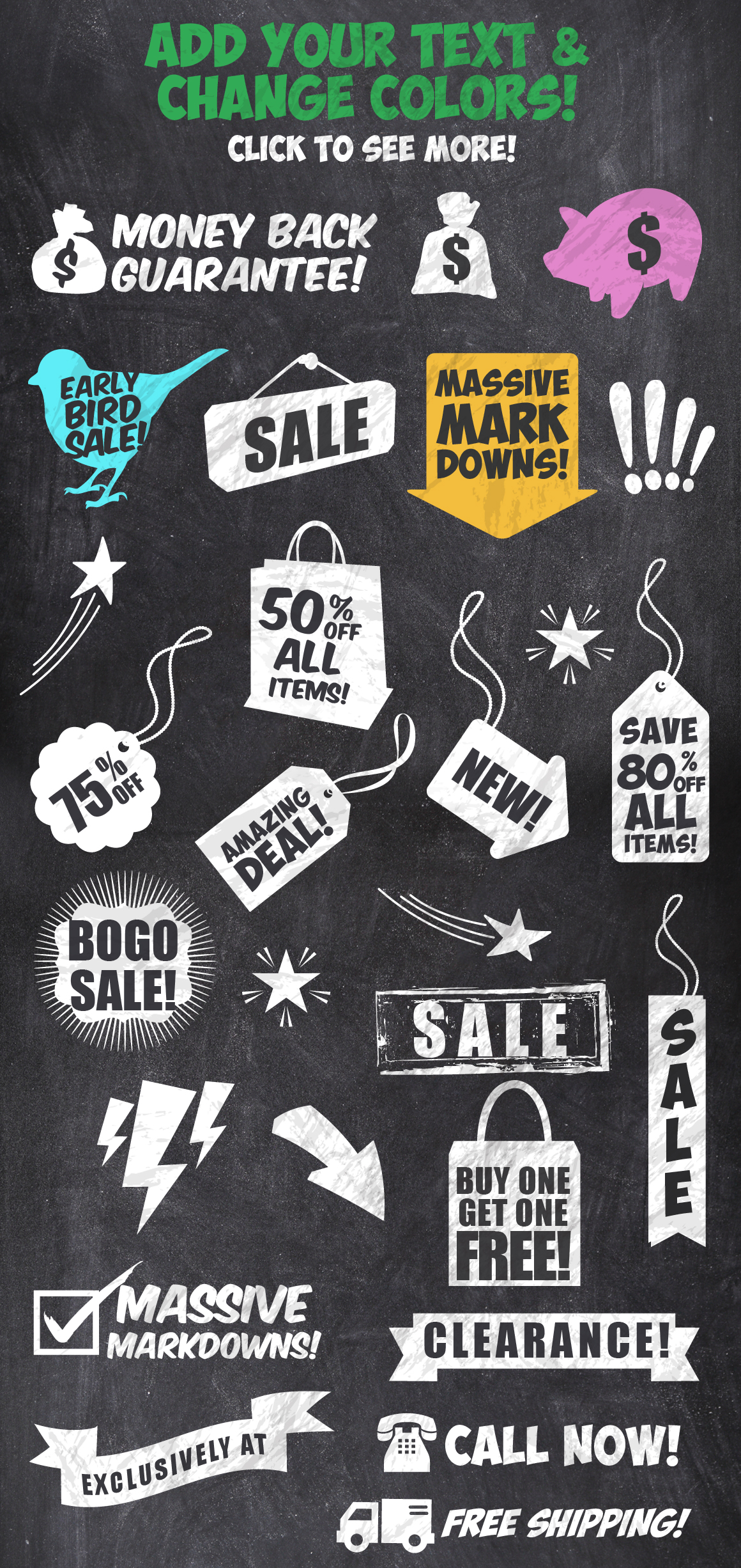 50 Chalk Sales Promo Bundle example image 2