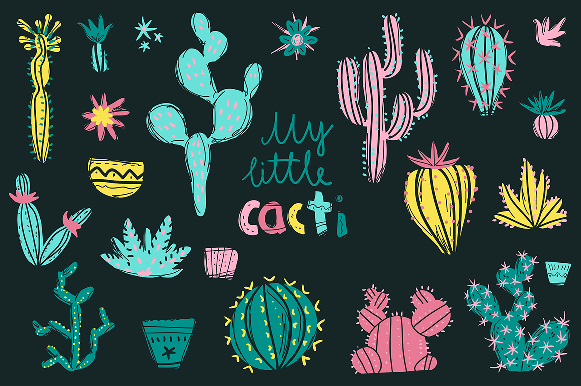 The Night in the Desert. Cactus clipart collection. example image 9