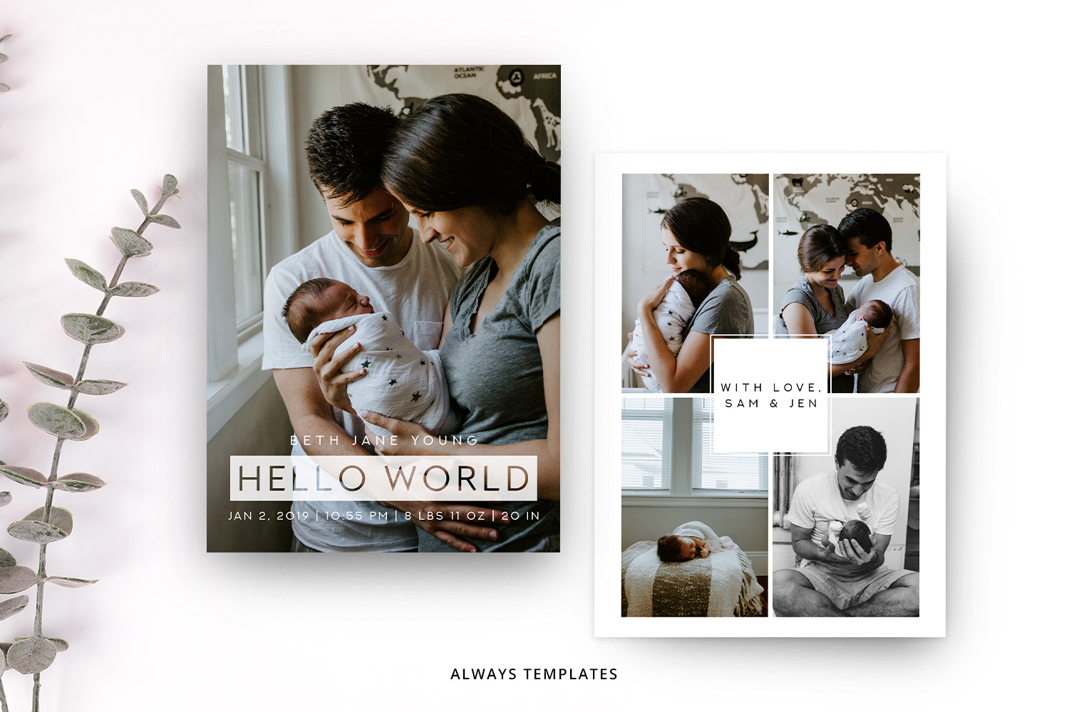Birth Announcement Template BA009 example image 1