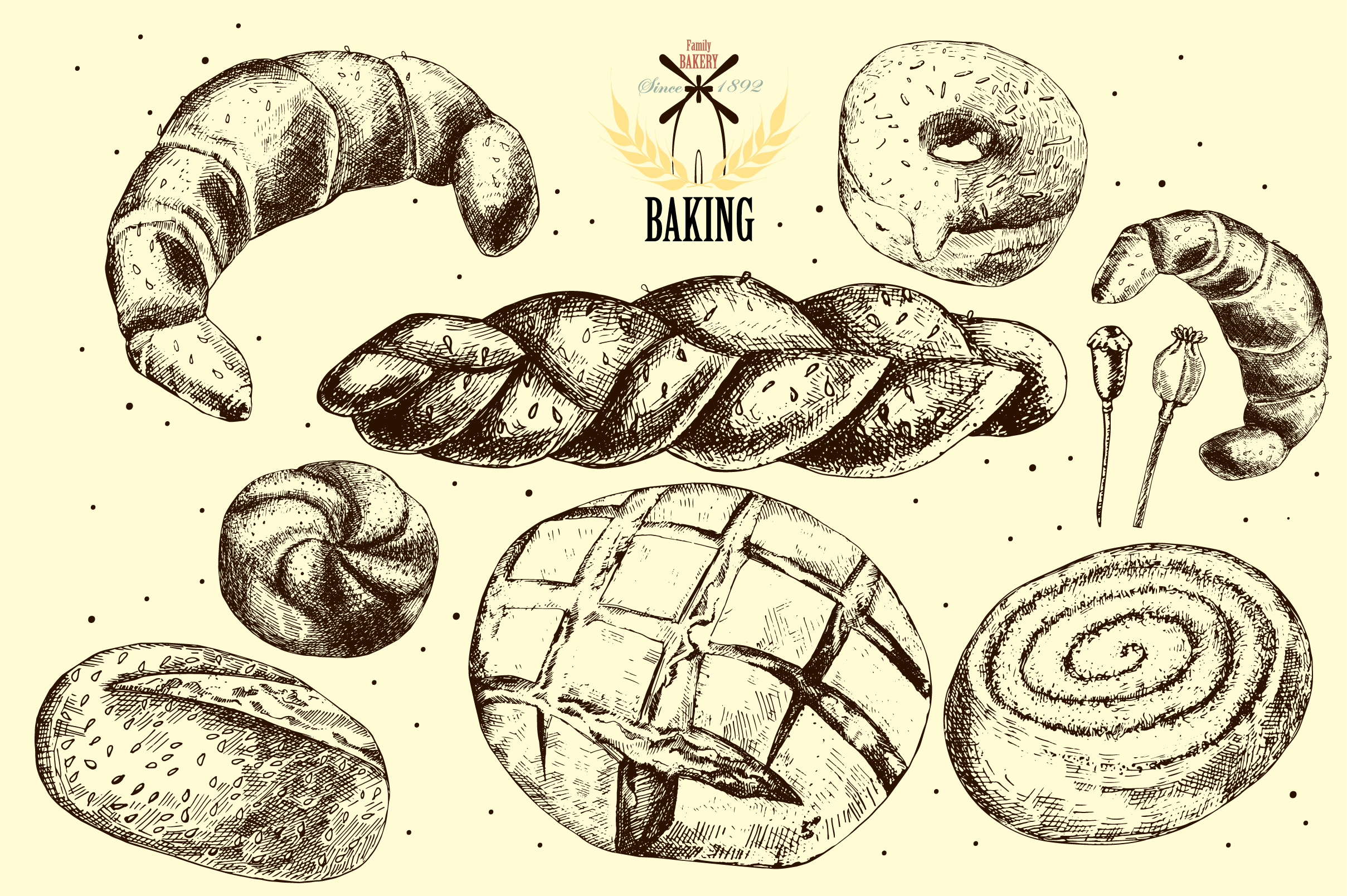 Bread and pastries. Hand drawing. example image 3