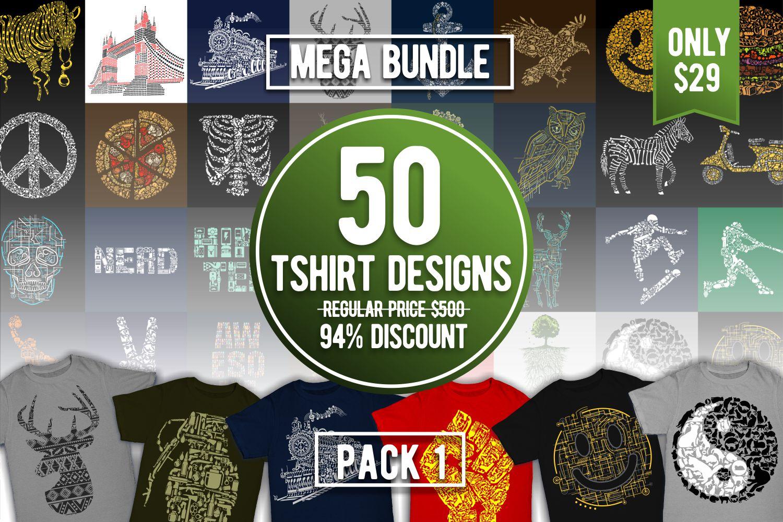 Tshirt Designs Mega Bundle Pack 1 example image 1