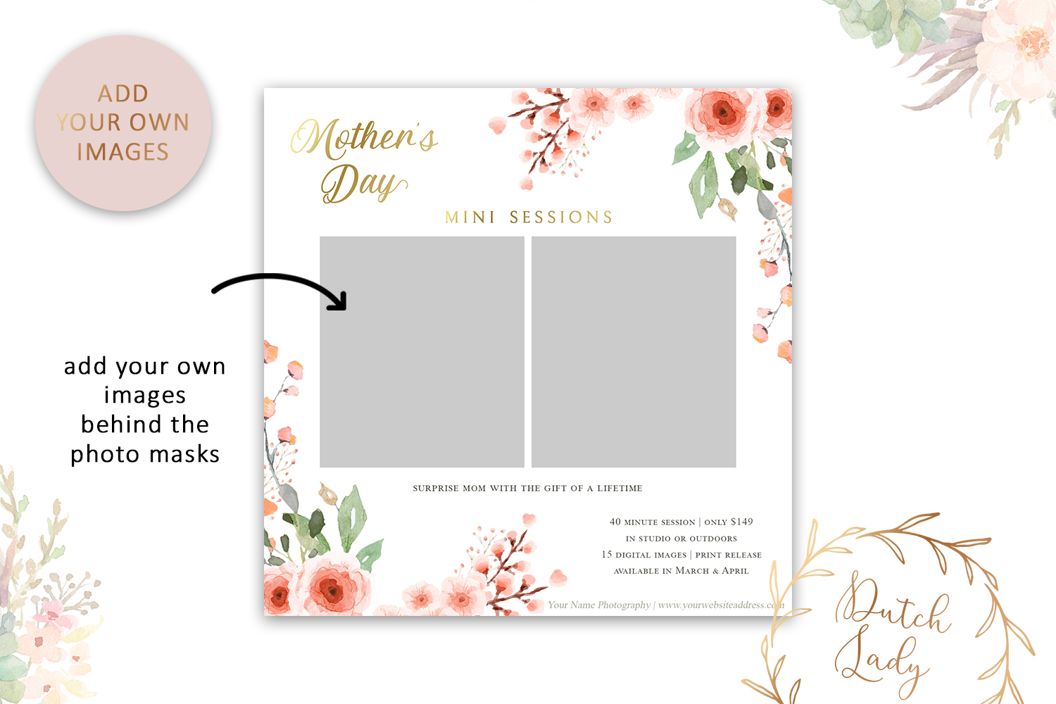 PSD Mother's Day Photo Session Card Template - Design #37 example image 2