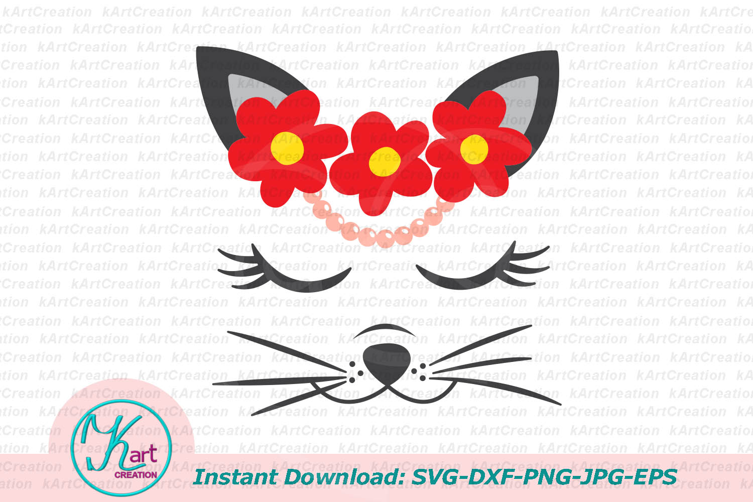 Cat face with flowers eyelashes svg dxf cut file printable example image 1