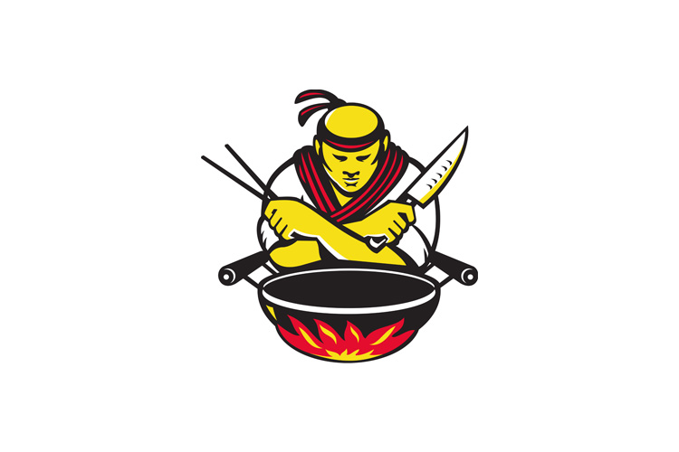 japanese cook chef with knife wok example image 1