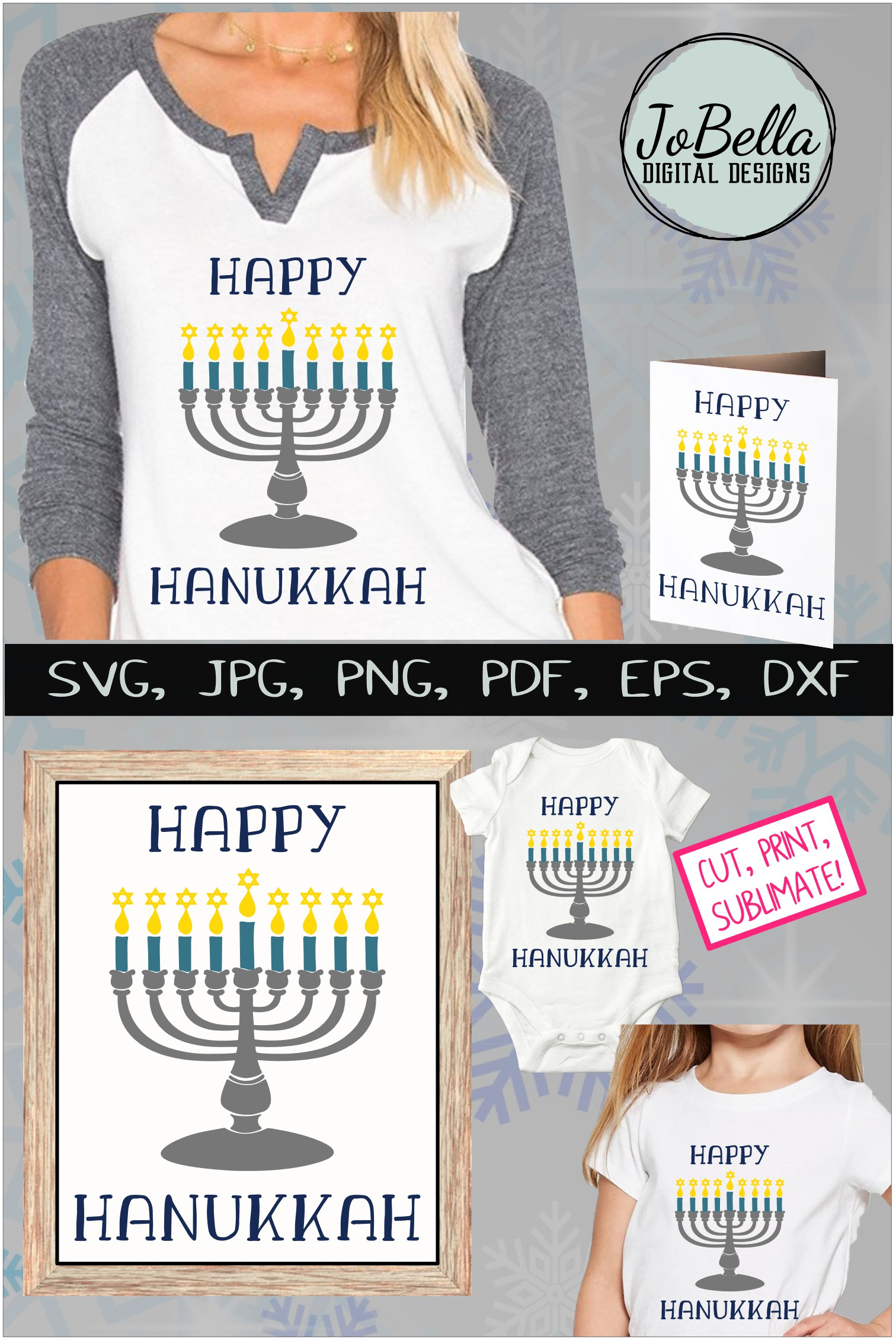 Menorah and Happy Hanukkah SVG, Printable and PNG example image 5