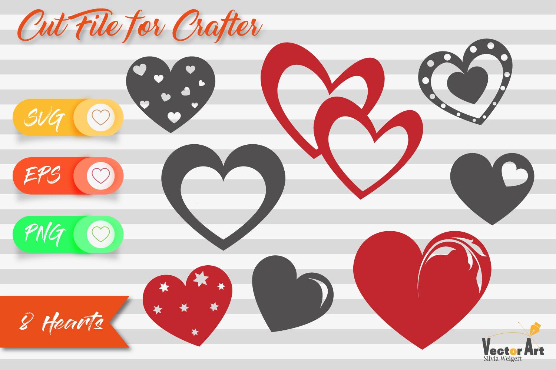 Mini Bundle - 8 Hearts - Cut files example image 1