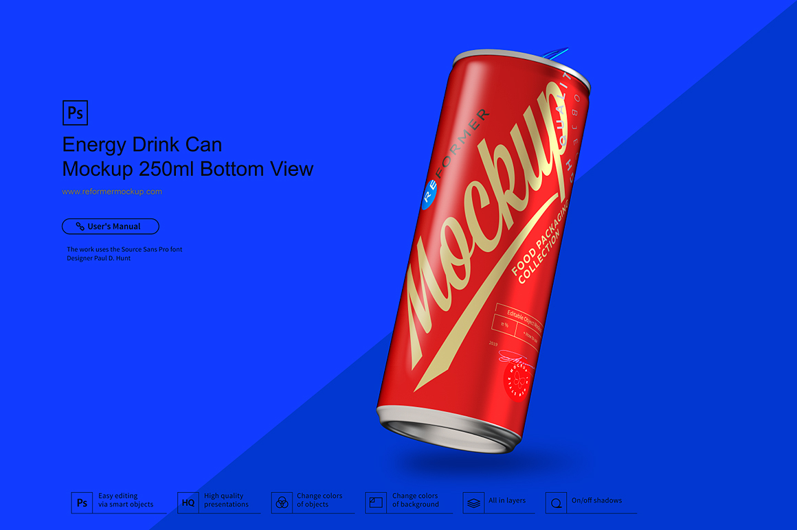 Energy Drink Can Mockup 250ml Bottom View example image 2