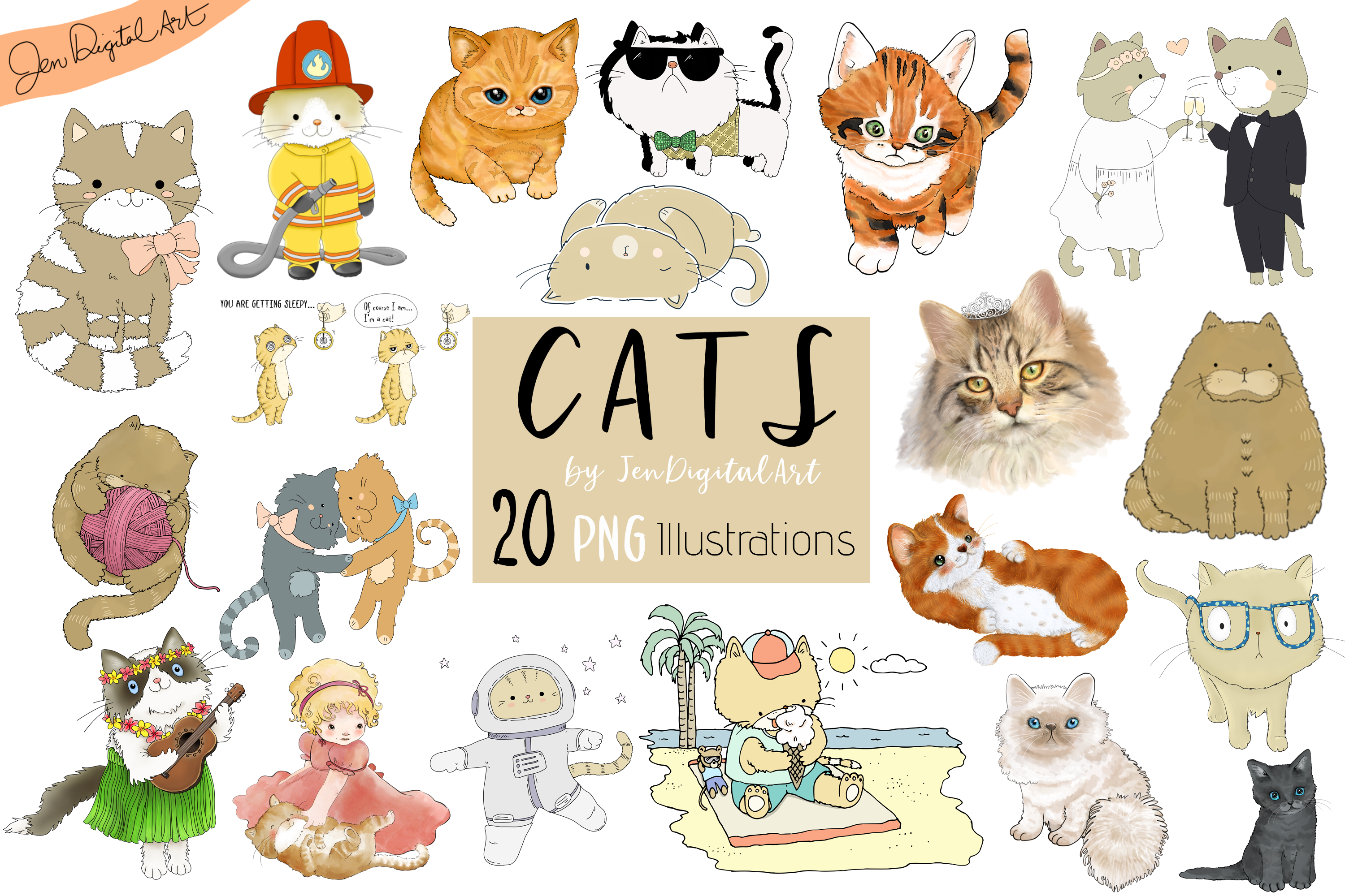 CATS | 20 Assorted PNG Clip Art Illustrations example image 1