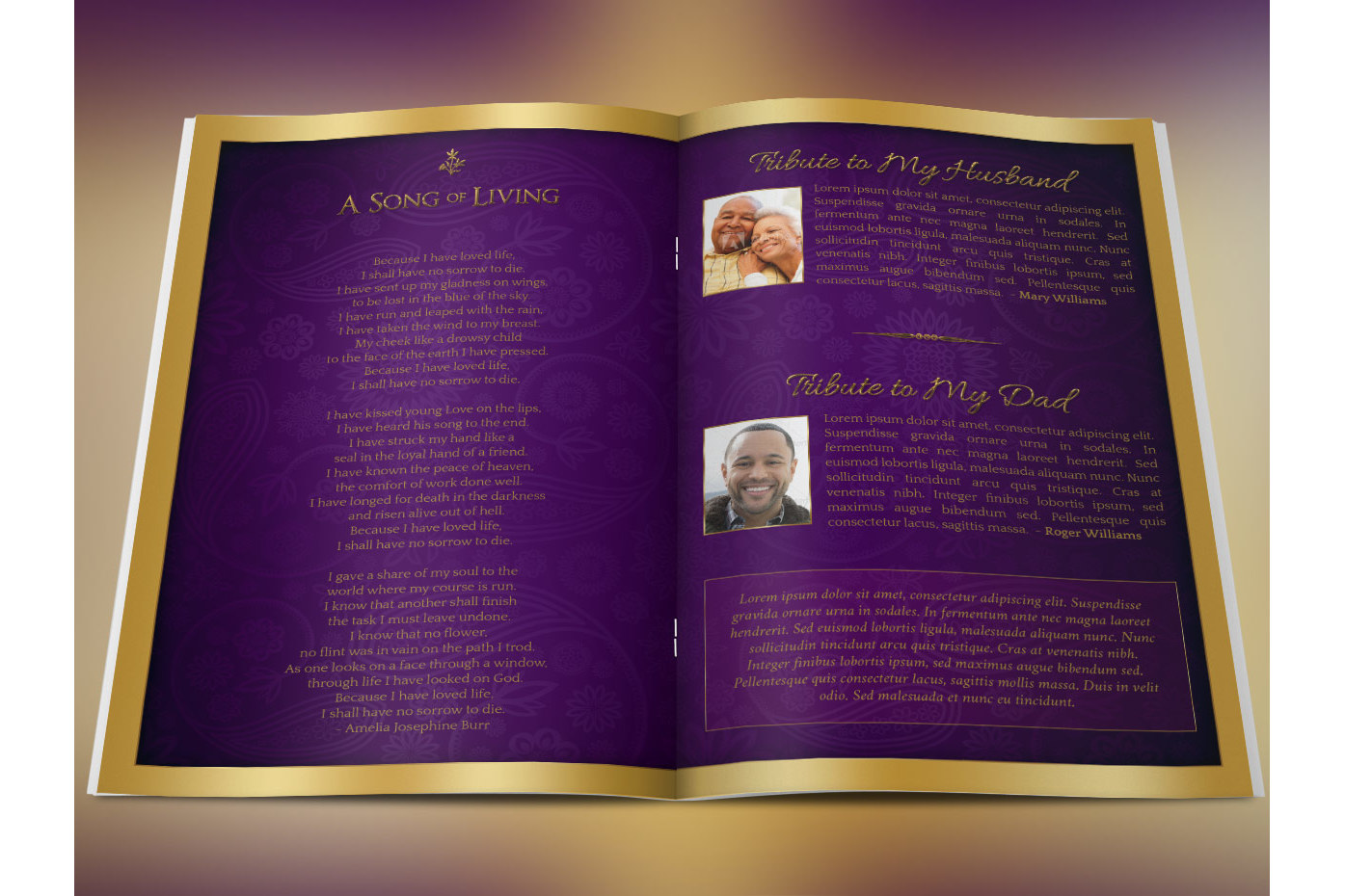 Regal Funeral Program Large PSD Template Example Image 4