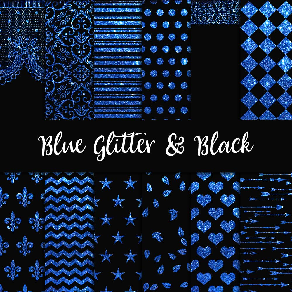 Blue Glitter & Black Digital Paper example image 1