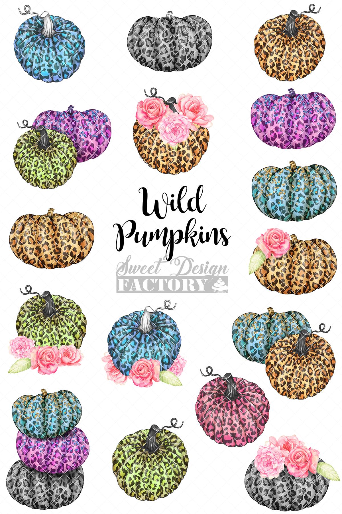 Leopard pumpkins cliparts example image 3