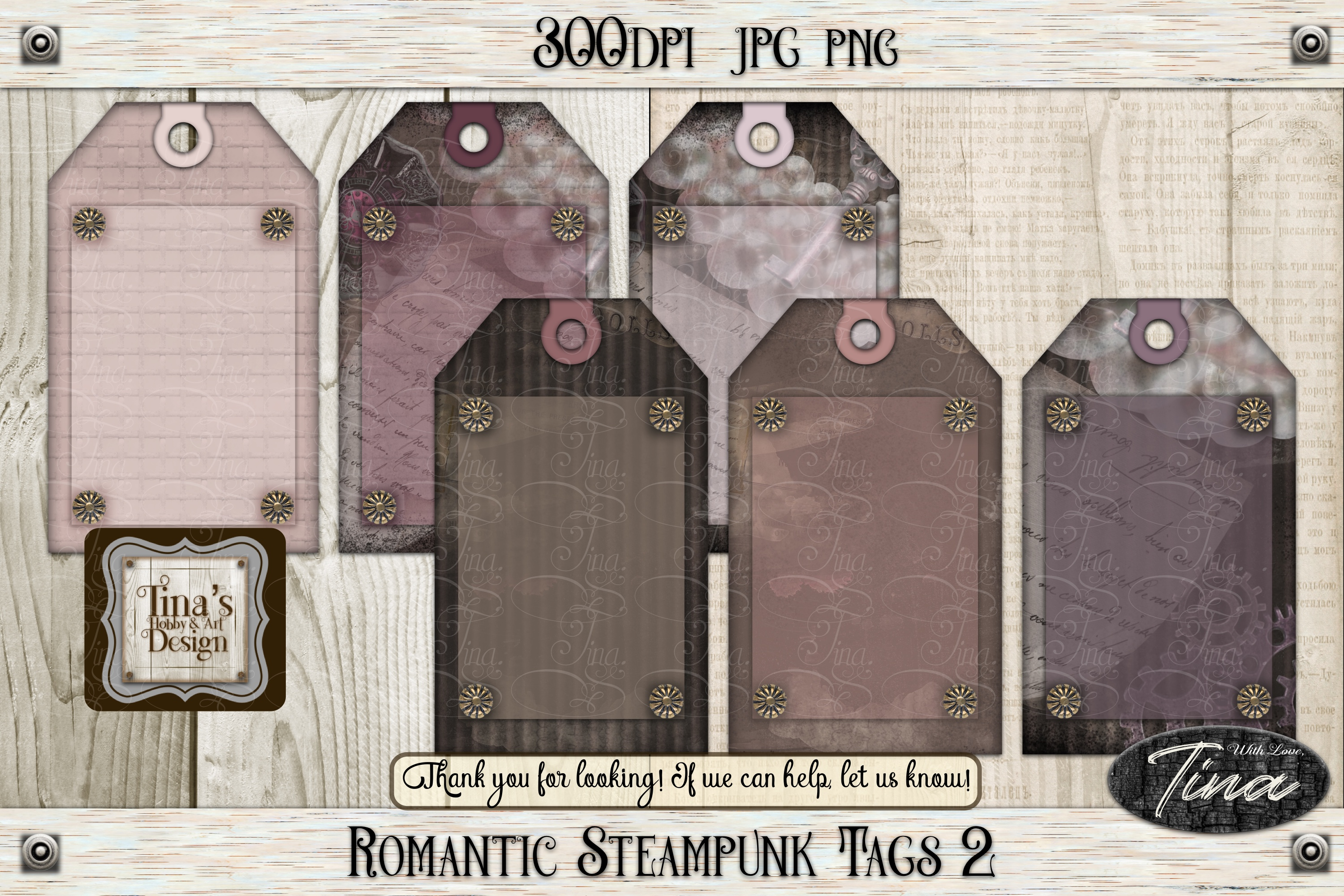 Romantic Steampunk Tags 4 Collage Mauve Grunge 101918RST4 example image 7