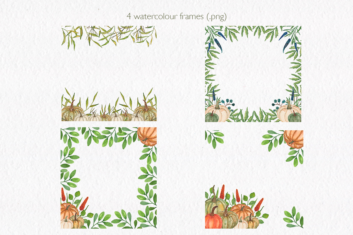 Pumpkin collection. Watercolor clipart. example image 8