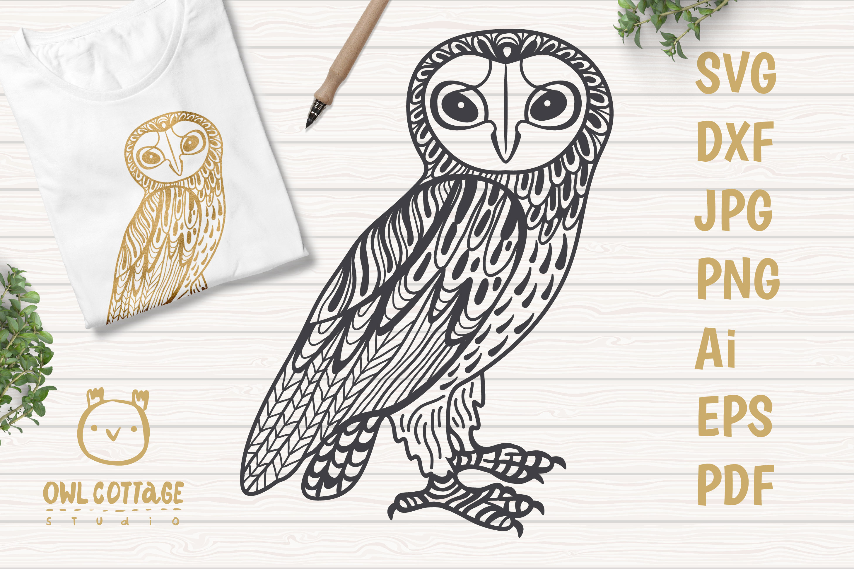 Barn Owl SVG, Forest Bird Decor Cut File example image 1