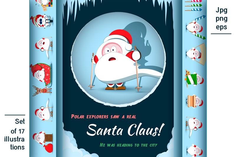 Santa Claus Christmas character set of 17 illustrations example image 1