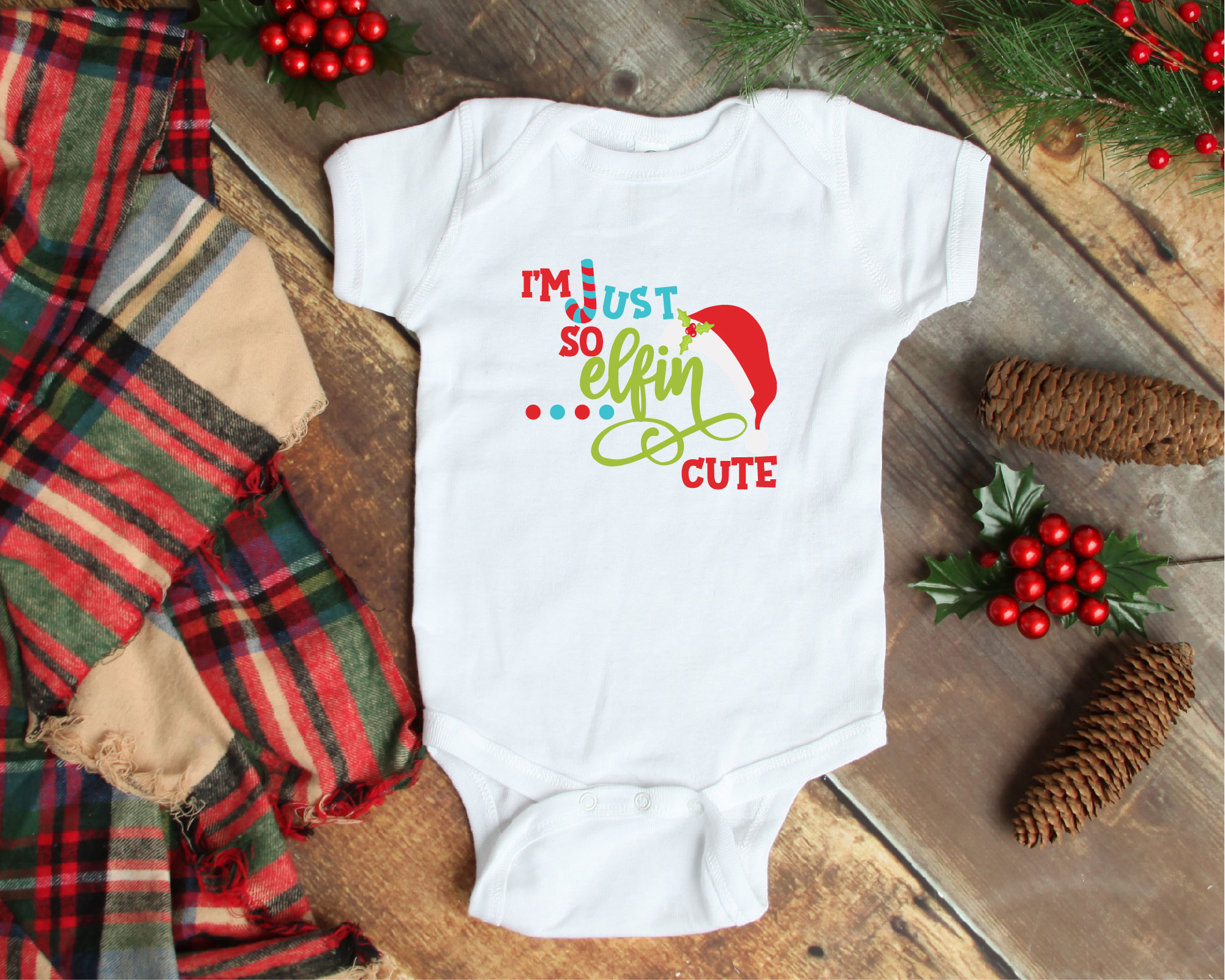 So Elfin Cute, SVG Elf SVG, Baby's First Christmas SVG example image 2