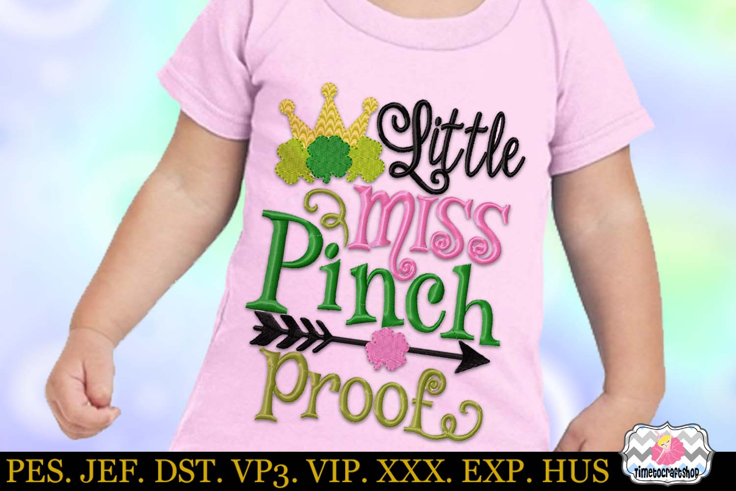 St Patricks Day Little Miss Pinch Proof Embroidery example image 1