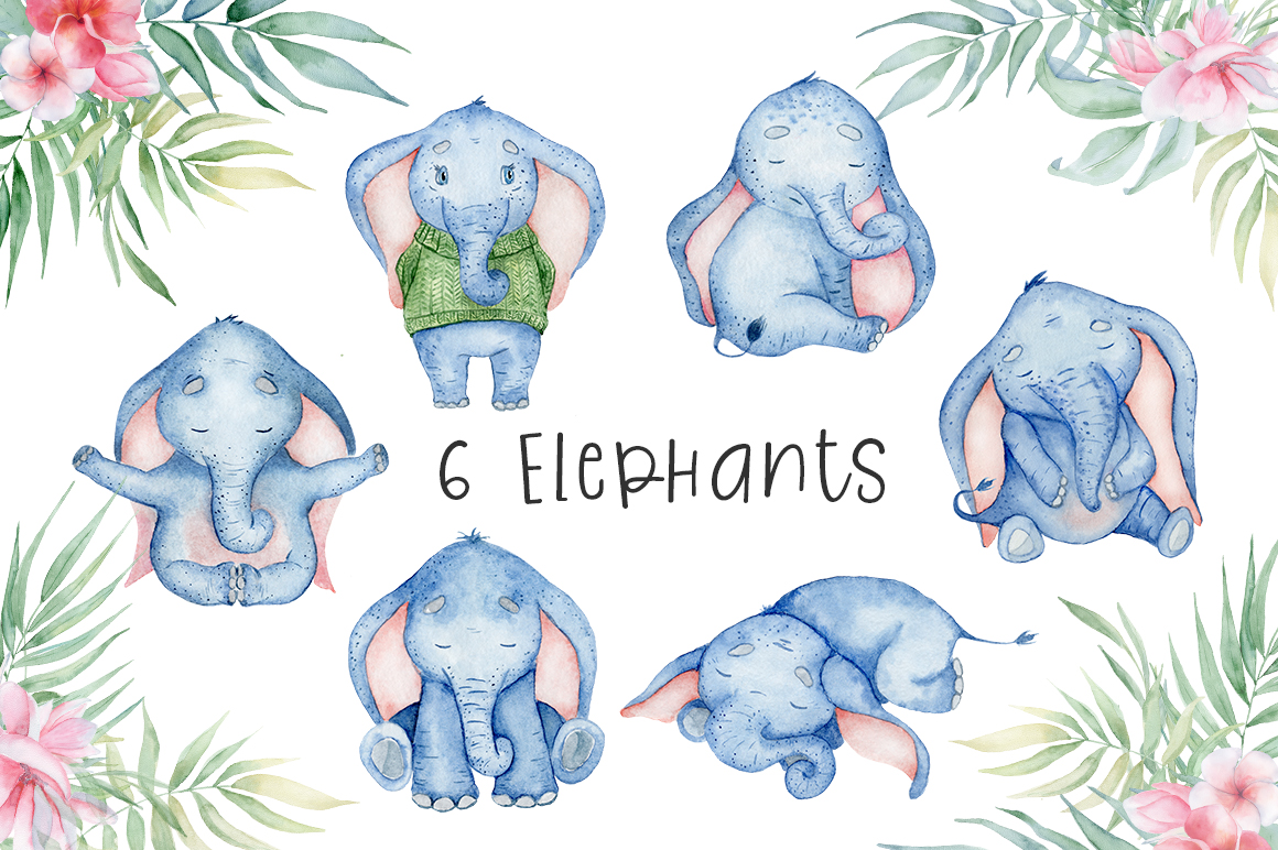 Lovely Elephants Watercolor set animals clipart example image 3