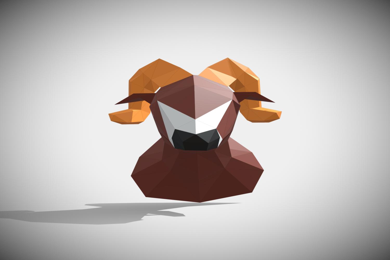 RAM DIY Paper Sculpture Animal head Trophy example image 8