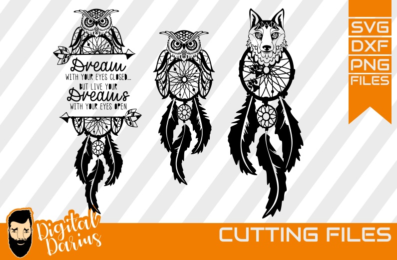 3x Dreamcatcher svg, Feather svg, Dreams, Owl svg, Wolf dxf example image 1