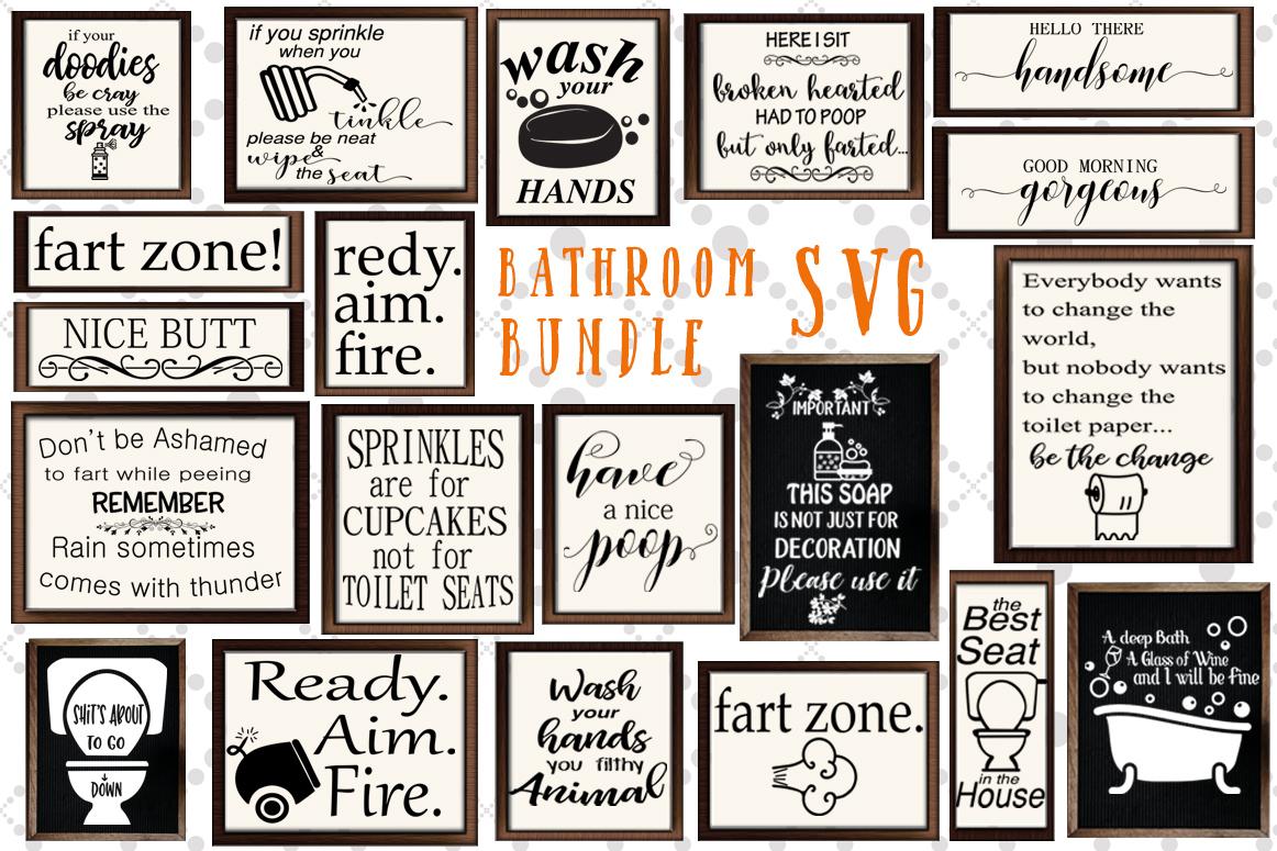 Bathroom Sign Svg Bundle, FUNNY BATHROOM SVG,Svg Designs example image 1