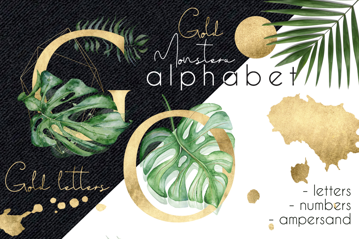 Gold Monstera - tropical leaves alphabet example image 1