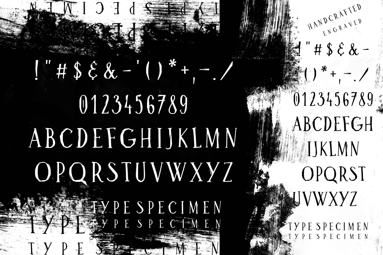 Bluebird engraver Font   An artisan hand-made stamp type. example image 3
