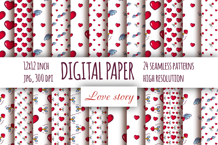 Hearts digital paper. Valentine's day seamless patterns example image 1