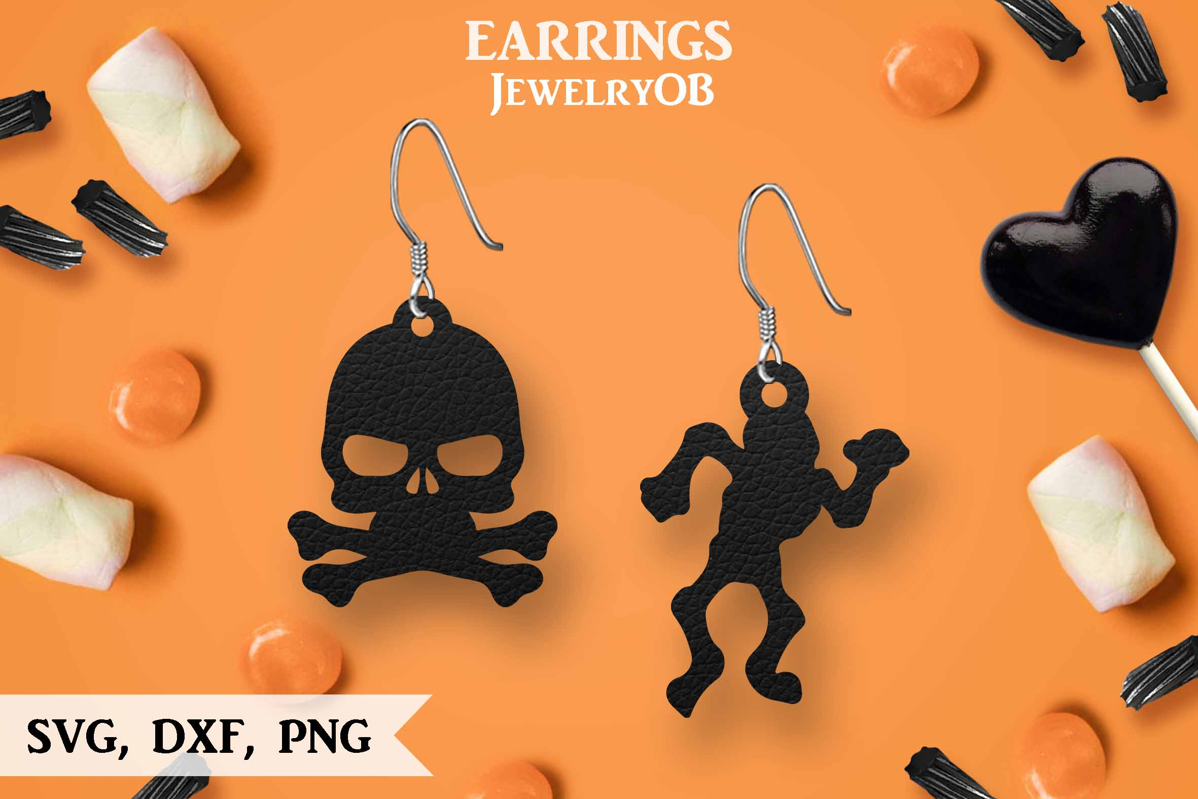 Halloween Earrings, Cut File, SVG DXF PNG Formats, Skull example image 1