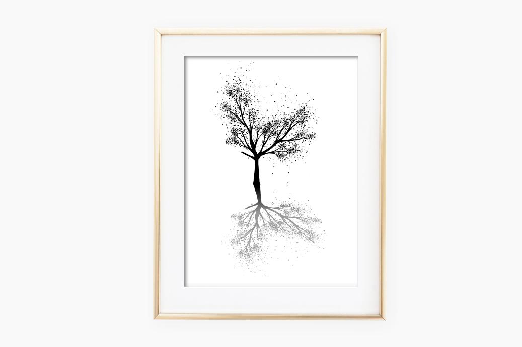 Black Tree Ink Art, A1, SVG example image 2