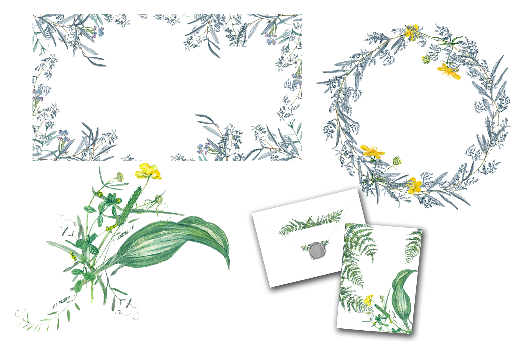 Watercolor grass and wildflowers example image 6