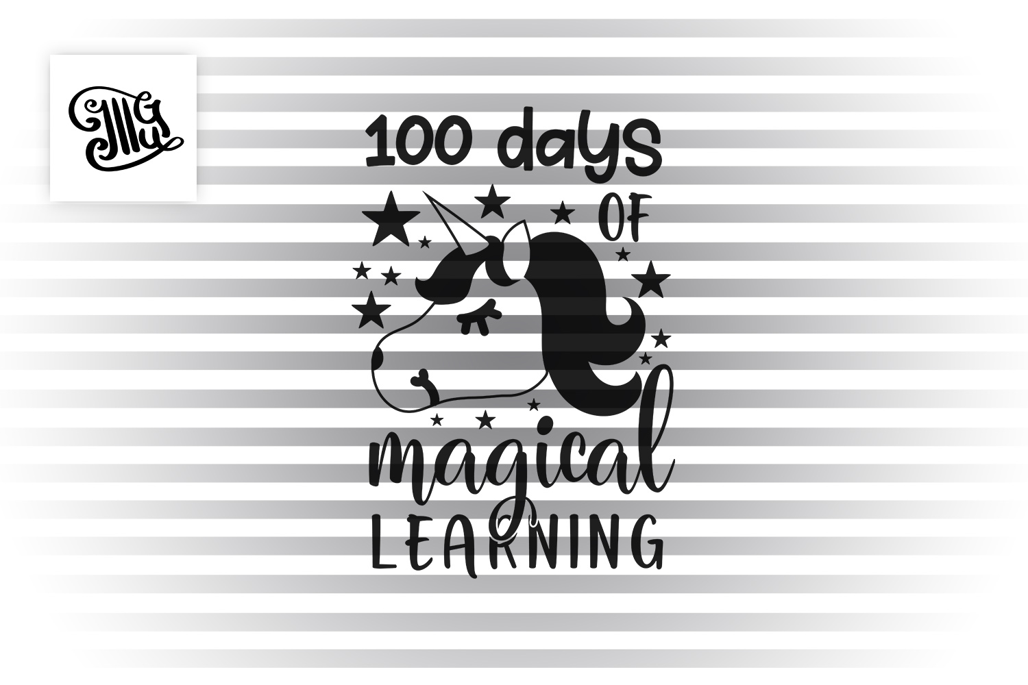 100 days of school for girl svg with unicorn head clipart example image 2