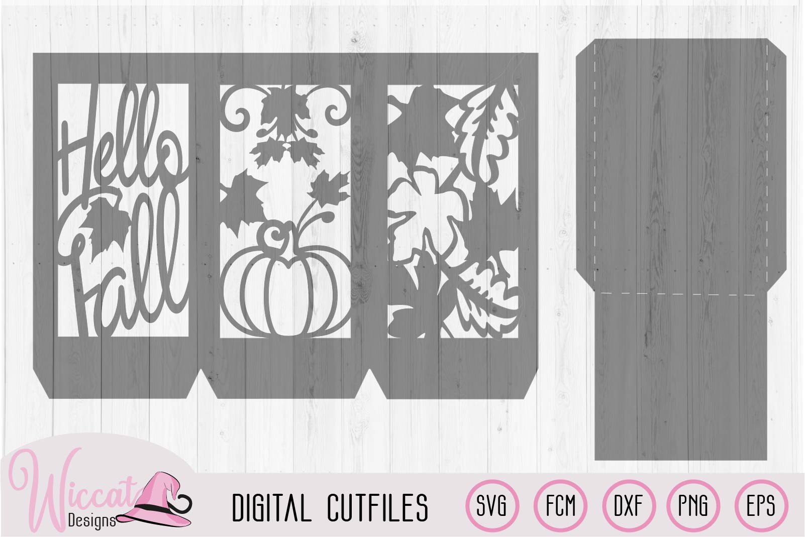 Happy fall lantern template, pumpkin and leaves, paper craft example image 2
