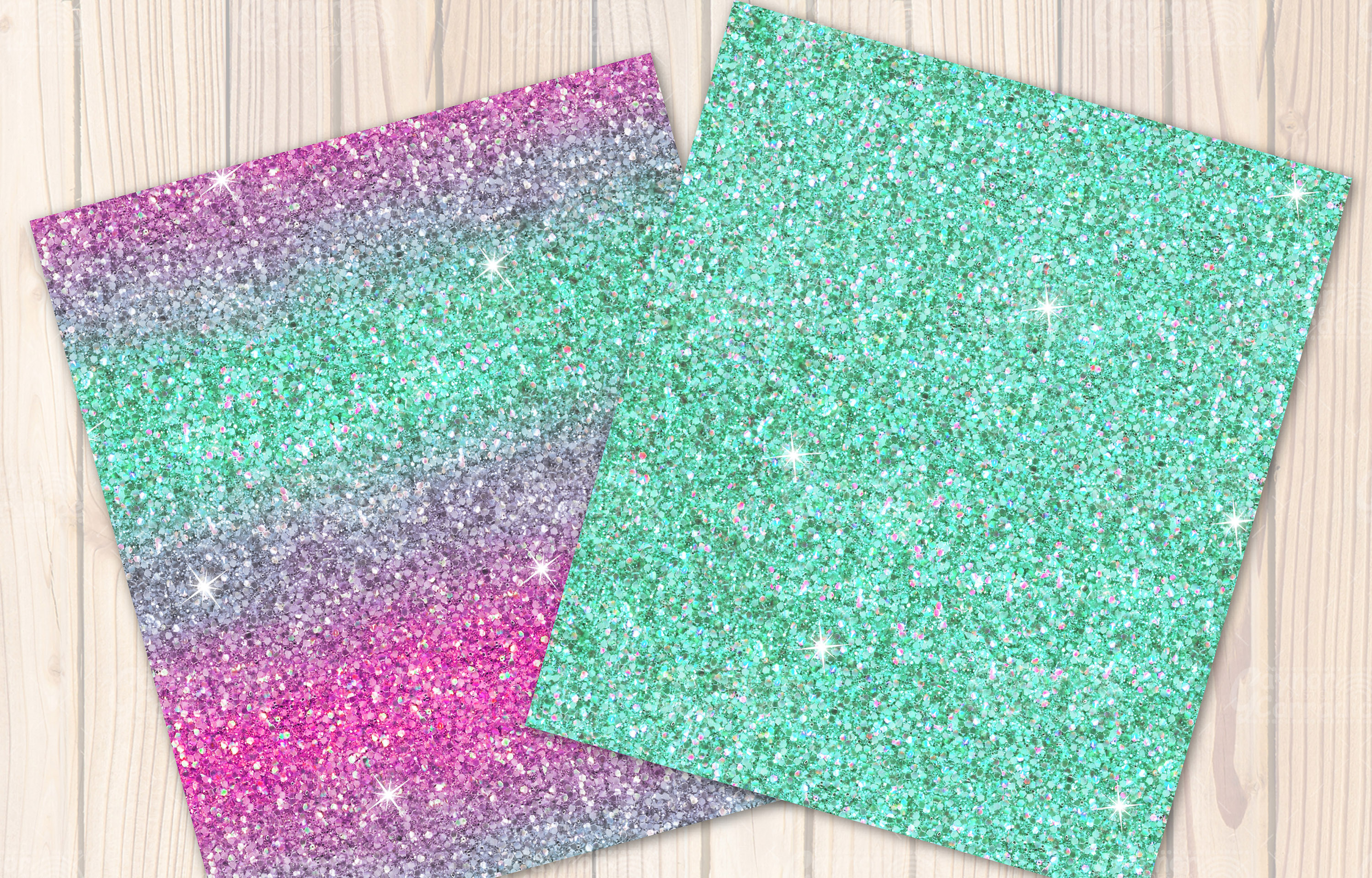 Pink and mint seamless Glitter backgrounds example image 3