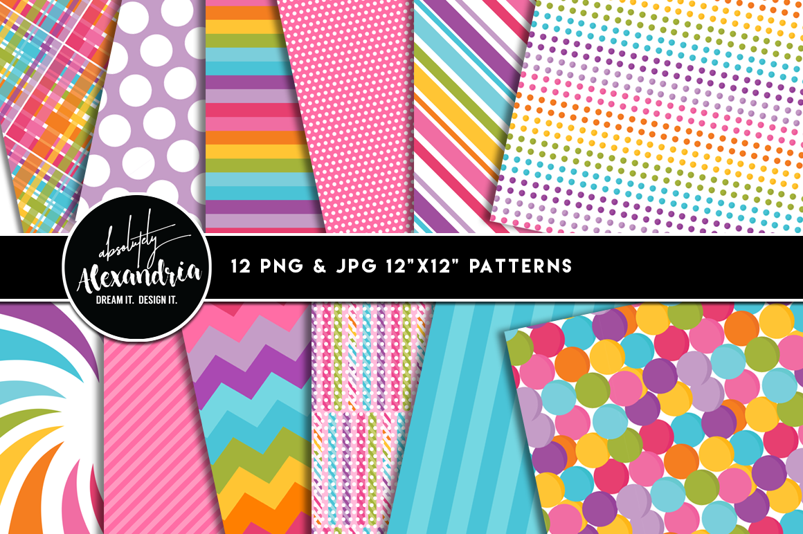 Candy Shoppe Clipart Graphics & Digital Paper Patterns Bundle example image 2