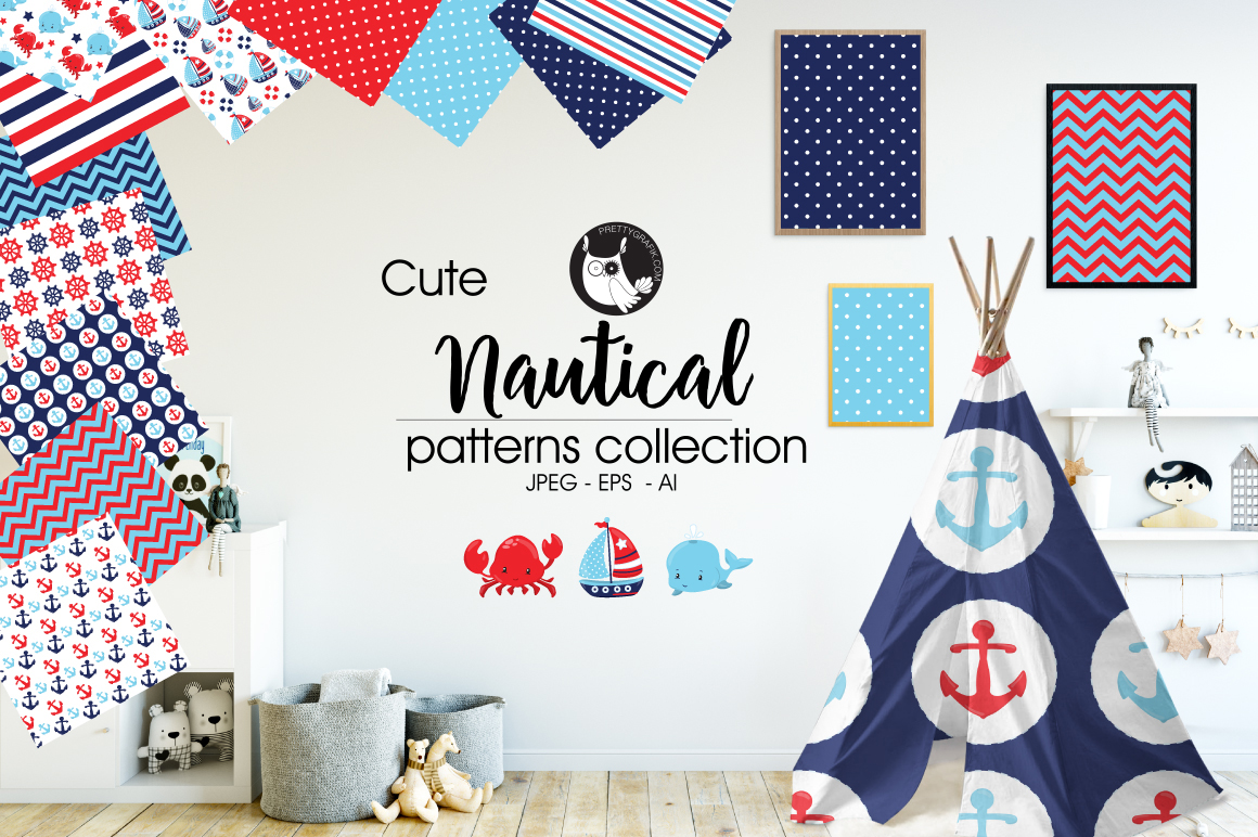 NAUTICAL, digital papers example image 1