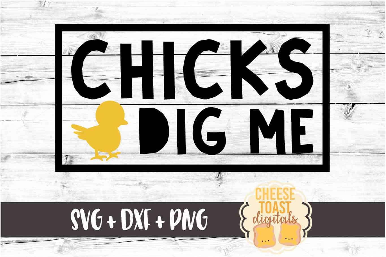 Chicks Dig Me - Boy Easter SVG PNG DXF Cut File example image 2