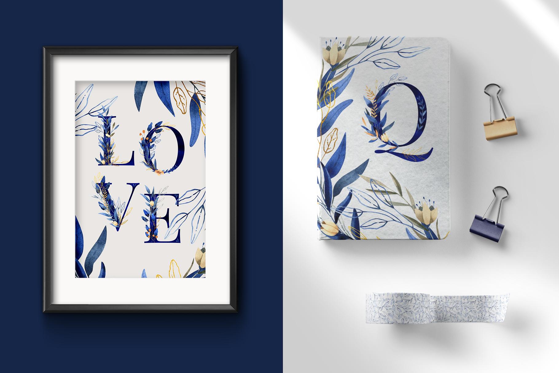 Deep Blue Alphabet Watercolor Design Kit example image 10