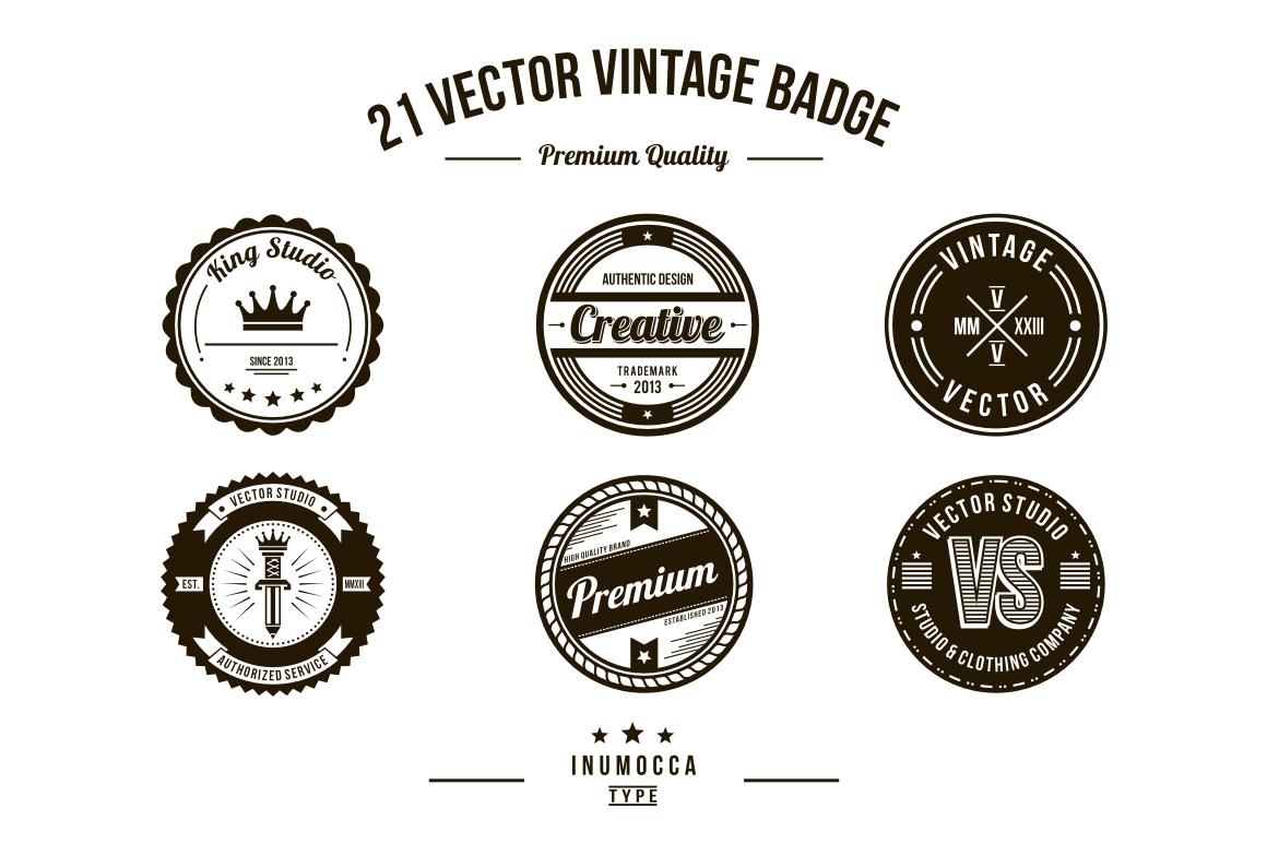 21 Vintage Badges (CLEAR & CRACK) example image 3