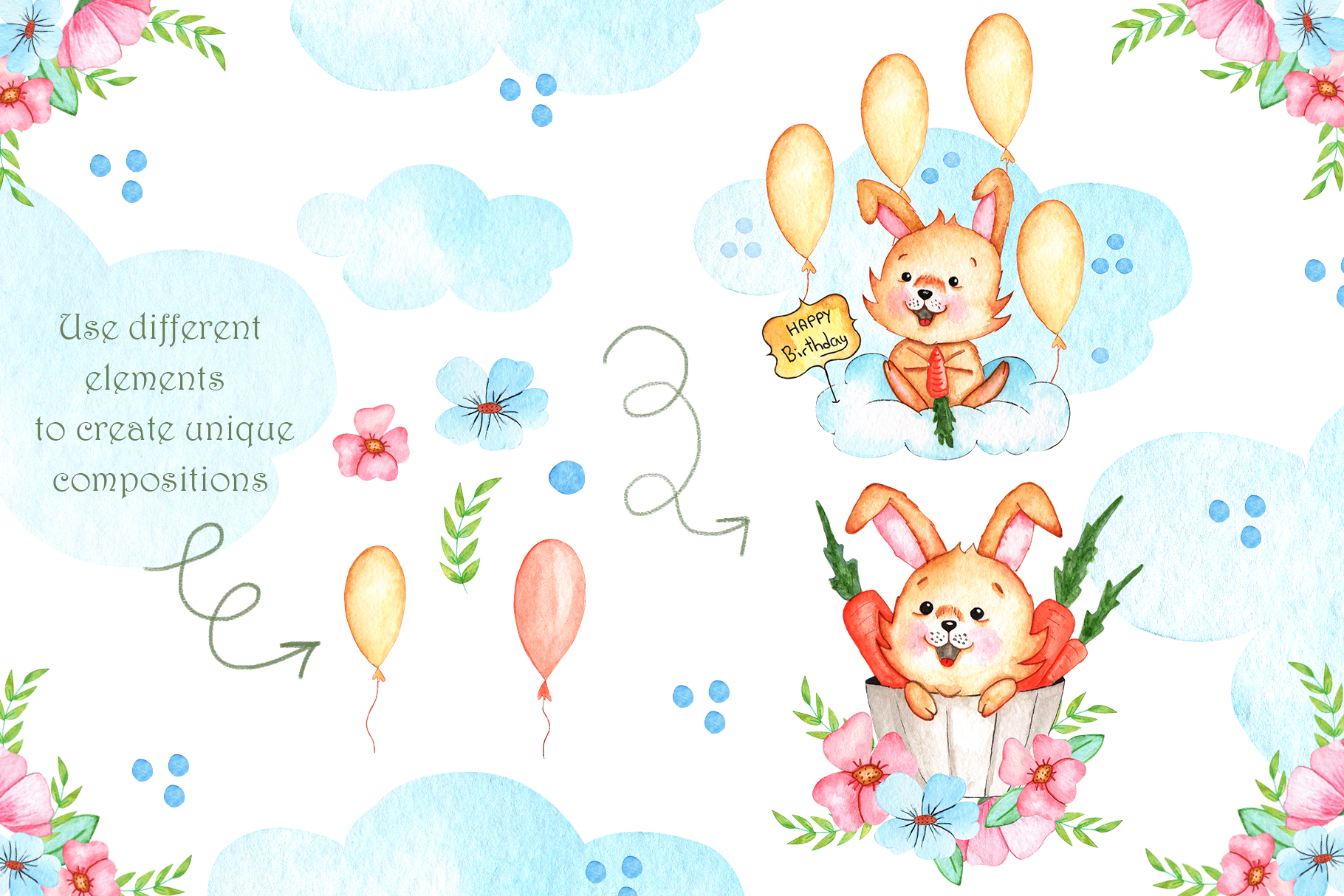 Watercolor Little Bunnies Illustrations example image 3