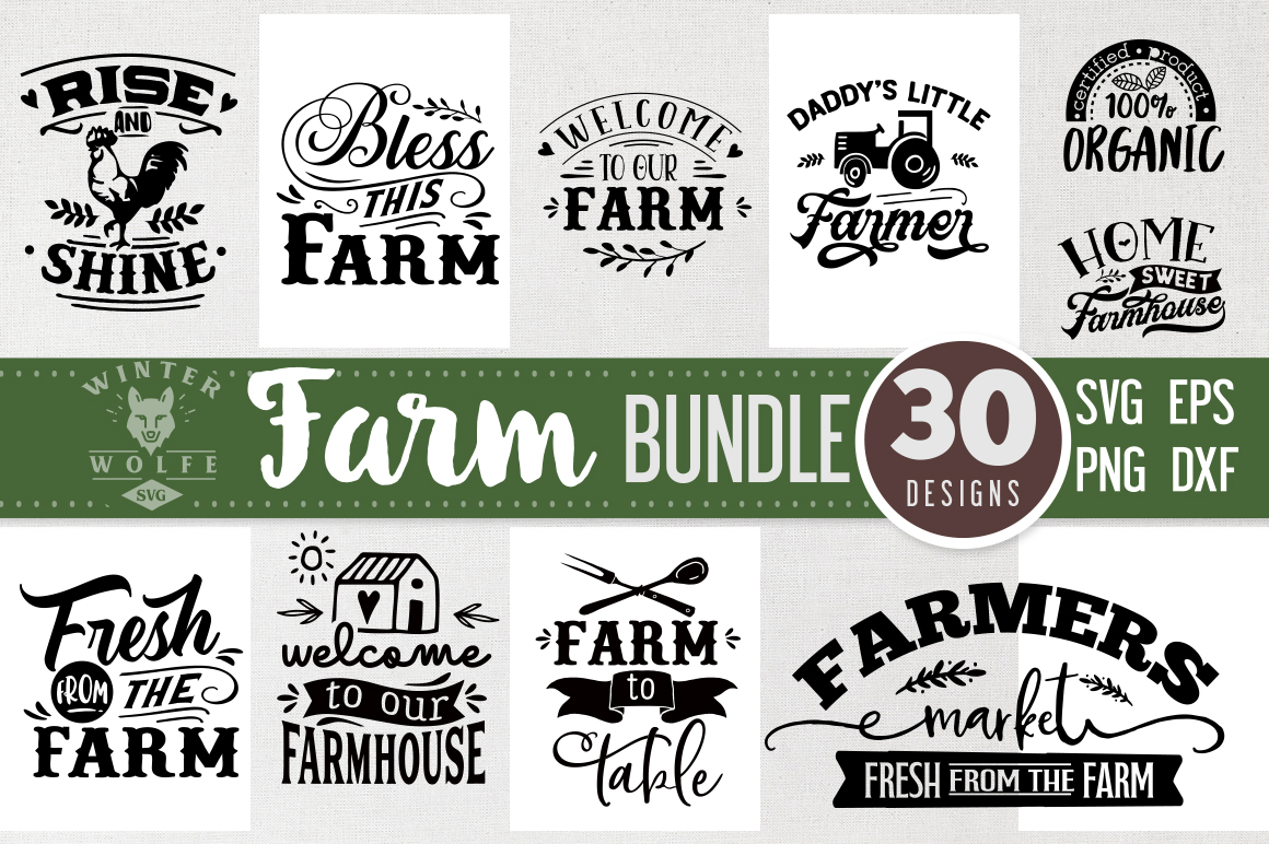 Farm Bundle 30 designs SVG EPS DXF PNG example image 2