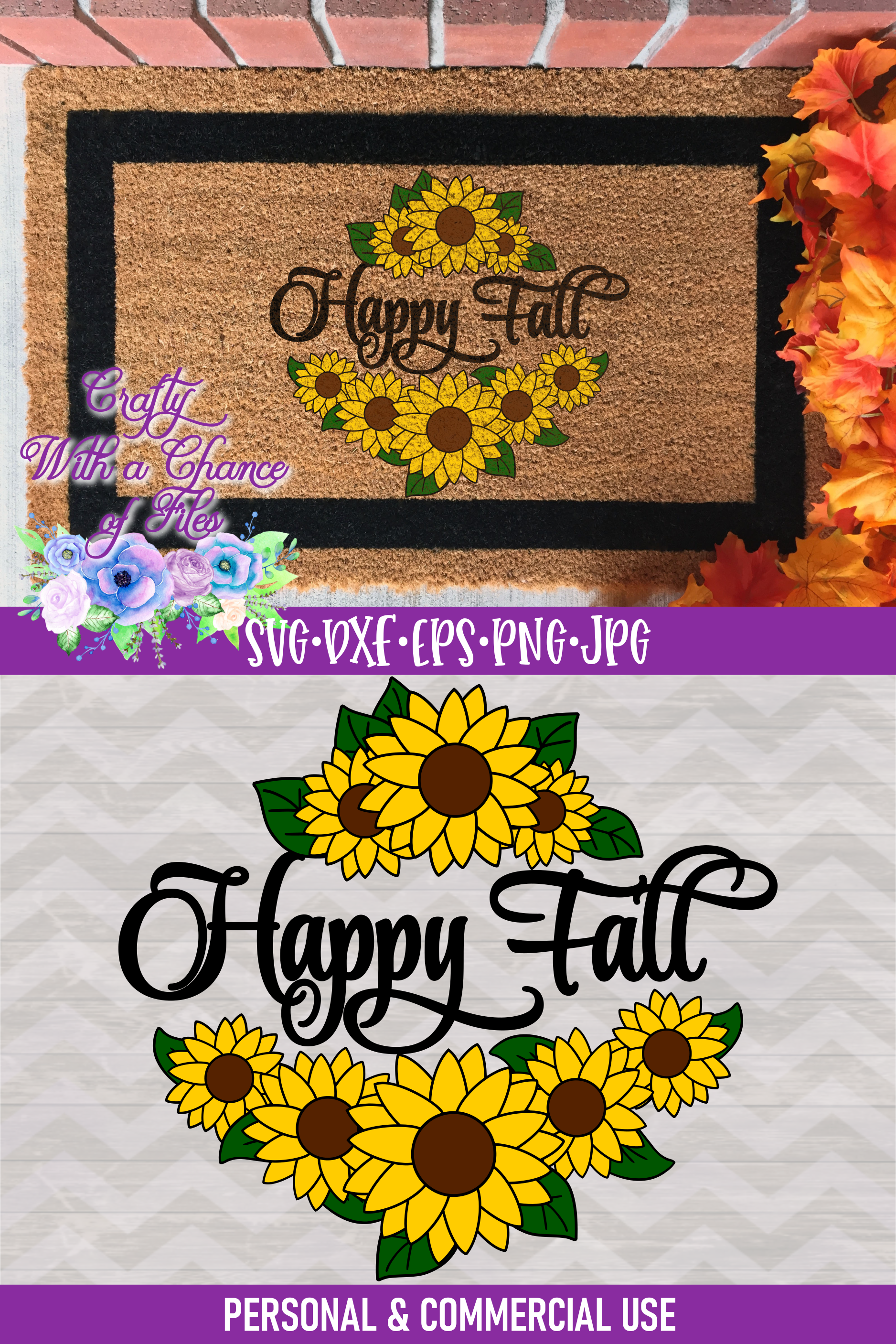 Happy Fall SVG | Autumn SVG | Sunflowers SVG | Fall SVG example image 4