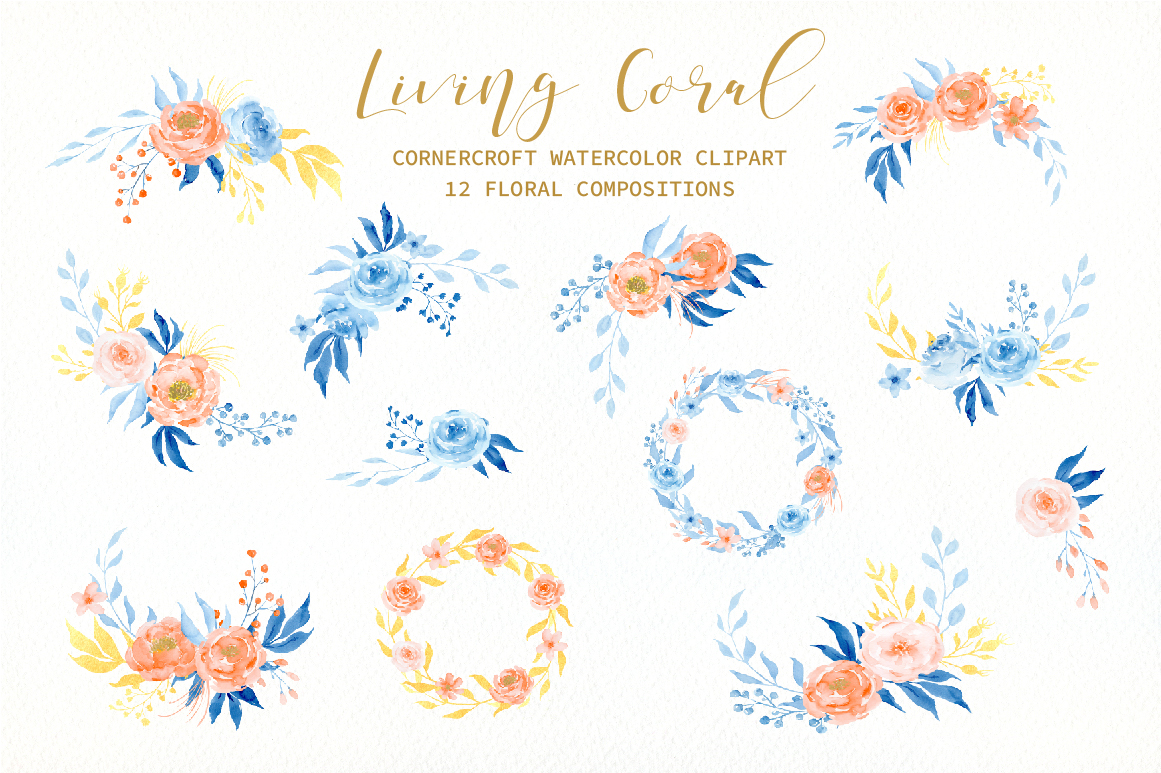 Watercolor Collection Living Coral Flowers example image 3